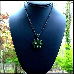 Joan Rivers XV Shades of Green Crystal Flower Nklc